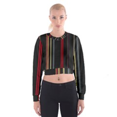Stripes Line Black Red Cropped Sweatshirt