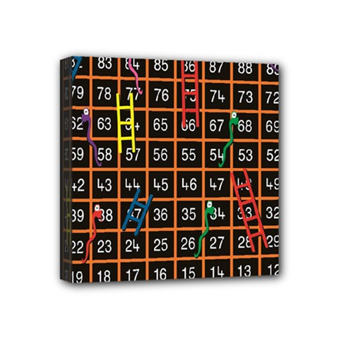 Snakes Ladders Game Plaid Number Mini Canvas 4  X 4  by Mariart