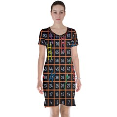 Snakes Ladders Game Plaid Number Short Sleeve Nightdress by Mariart