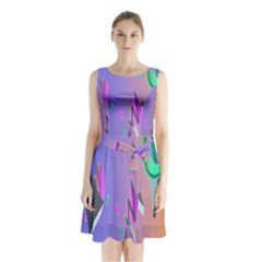 Triangle Wave Rainbow Sleeveless Waist Tie Chiffon Dress