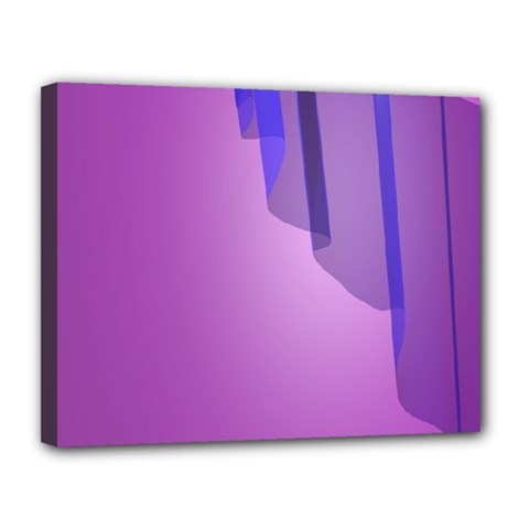 Verre Bleu Wave Chevron Waves Purple Canvas 14  X 11  by Mariart