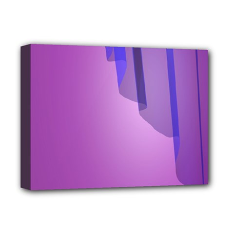 Verre Bleu Wave Chevron Waves Purple Deluxe Canvas 16  X 12   by Mariart