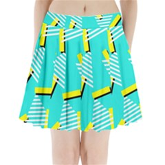 Vintage Unique Graphics Memphis Style Geometric Triangle Line Cube Yellow Green Blue Pleated Mini Skirt by Mariart