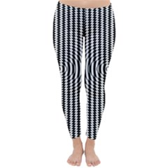 Vertical Lines Waves Wave Chevron Small Black Classic Winter Leggings by Mariart