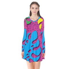 Vintage Unique Graphics Memphis Style Geometric Leaf Green Blue Yellow Pink Flare Dress by Mariart