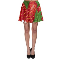 Strawberry Red Seed Leaf Green Skater Skirt by Mariart