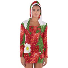 Strawberry Red Seed Leaf Green Women s Long Sleeve Hooded T Shirt