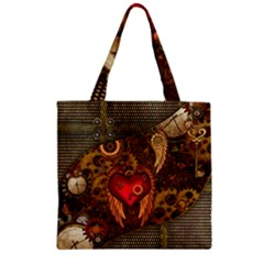 Steampunk Golden Design, Heart With Wings, Clocks And Gears Zipper Grocery Tote Bag by FantasyWorld7