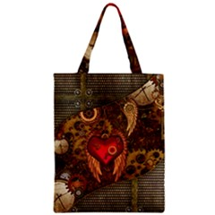 Steampunk Golden Design, Heart With Wings, Clocks And Gears Zipper Classic Tote Bag by FantasyWorld7