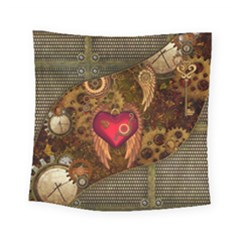 Steampunk Golden Design, Heart With Wings, Clocks And Gears Square Tapestry (small) by FantasyWorld7