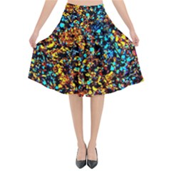 Colorful Seashell Beach Sand Flared Midi Skirt by Costasonlineshop