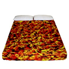 Orange Yellow  Saw Chips Fitted Sheet (king Size) by Costasonlineshop