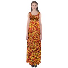 Orange Yellow  Saw Chips Empire Waist Maxi Dress