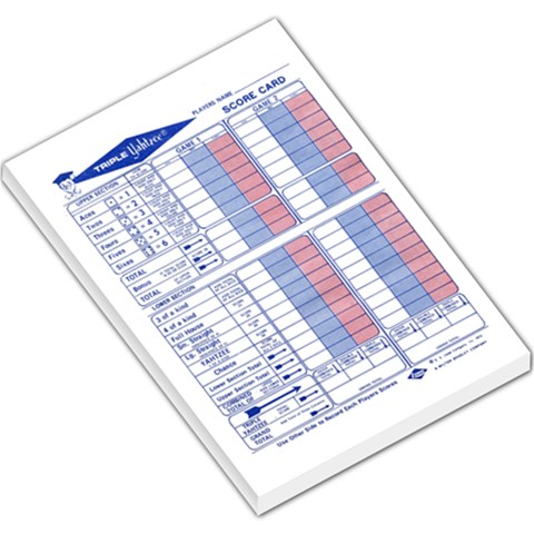 Yatzee Triple Score Sheet By Caroladelej   Large Memo Pads   2hzc7mgq9ssp   Www Artscow Com