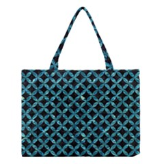 Circles3 Black Marble & Blue Green Water Medium Tote Bag by trendistuff