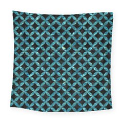 Circles3 Black Marble & Blue Green Water Square Tapestry (large) by trendistuff