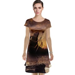 Steampunk Fractalscape, A Ship For All Destinations Cap Sleeve Nightdress