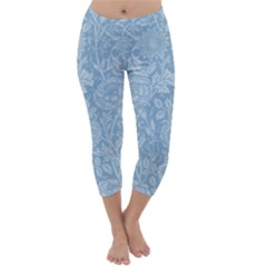 Vintage Morris Floral Blue Capri Winter Leggings  by pixeldiva