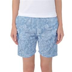 Vintage Morris Floral Blue Women s Basketball Shorts by pixeldiva