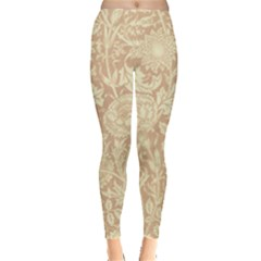 Vintage Morris Floral Brown Leggings  by pixeldiva