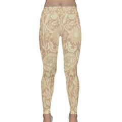 Vintage Morris Floral Brown Classic Yoga Leggings by pixeldiva