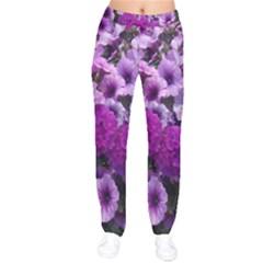 Wonderful Lilac Flower Mix Drawstring Pants by MoreColorsinLife