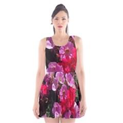 Wonderful Pink Flower Mix Scoop Neck Skater Dress by MoreColorsinLife