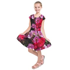 Wonderful Pink Flower Mix Kids  Short Sleeve Dress by MoreColorsinLife