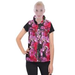 Wonderful Pink Flower Mix Women s Button Up Puffer Vest by MoreColorsinLife