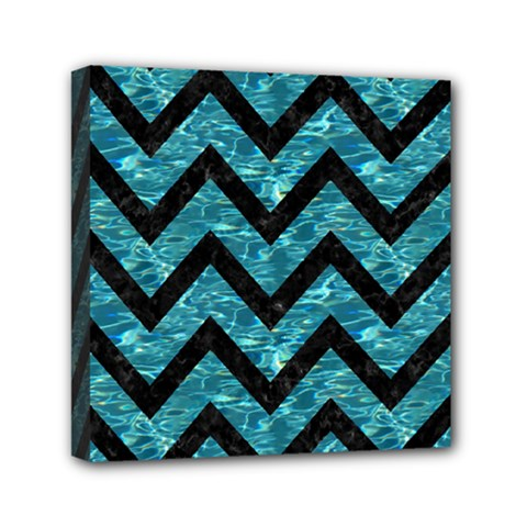 Chevron9 Black Marble & Blue Green Water (r) Mini Canvas 6  X 6  (stretched) by trendistuff