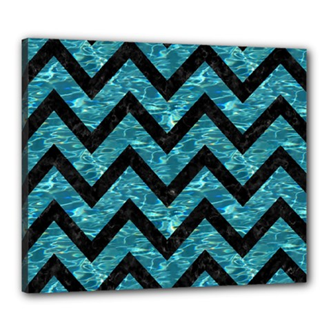 Chevron9 Black Marble & Blue Green Water (r) Canvas 24  X 20  (stretched) by trendistuff