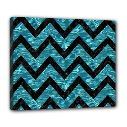 Chevron9 Black Marble & Blue Green Water (r) Deluxe Canvas 24  X 20  (stretched) by trendistuff