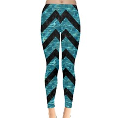 Chevron9 Black Marble & Blue Green Water (r) Leggings  by trendistuff