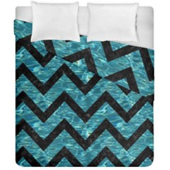 Chevron9 Black Marble & Blue Green Water (r) Duvet Cover Double Side (california King Size) by trendistuff
