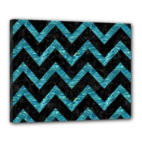 Chevron9 Black Marble & Blue Green Water Canvas 20  X 16  (stretched) by trendistuff