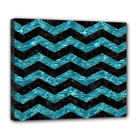 Chevron3 Black Marble & Blue Green Water Deluxe Canvas 24  X 20  (stretched) by trendistuff