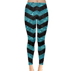 Chevron3 Black Marble & Blue Green Water Leggings  by trendistuff