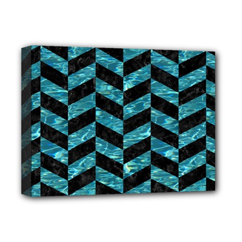 Chevron1 Black Marble & Blue Green Water Deluxe Canvas 16  X 12  (stretched)  by trendistuff