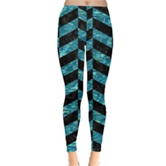 Chevron1 Black Marble & Blue Green Water Leggings  by trendistuff