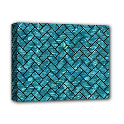 Brick2 Black Marble & Blue Green Water (r) Deluxe Canvas 14  X 11  (stretched) by trendistuff