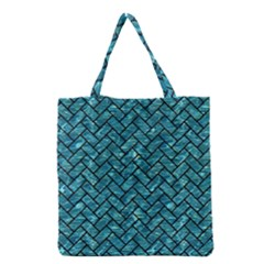 Brick2 Black Marble & Blue Green Water (r) Grocery Tote Bag by trendistuff