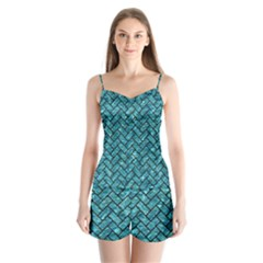 Brick2 Black Marble & Blue Green Water (r) Satin Pajamas Set by trendistuff