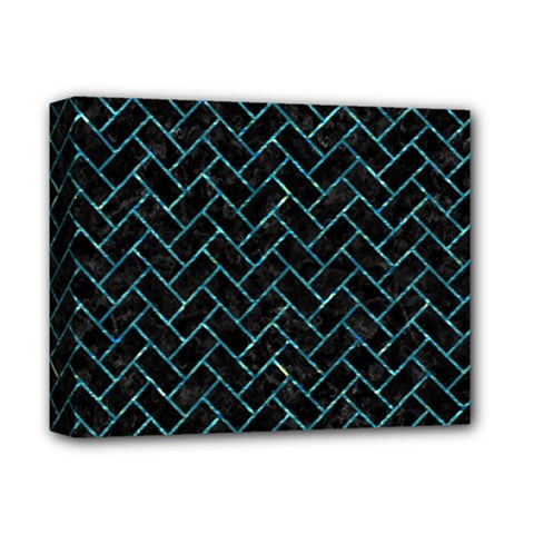 Brick2 Black Marble & Blue Green Water Deluxe Canvas 14  X 11  (stretched) by trendistuff