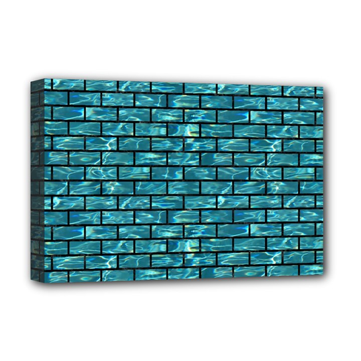 BRICK1 BLACK MARBLE & BLUE-GREEN WATER (R) Deluxe Canvas 18  x 12  (Stretched)