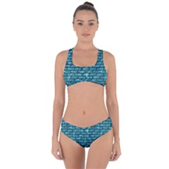 Brick1 Black Marble & Blue Green Water (r) Criss Cross Bikini Set