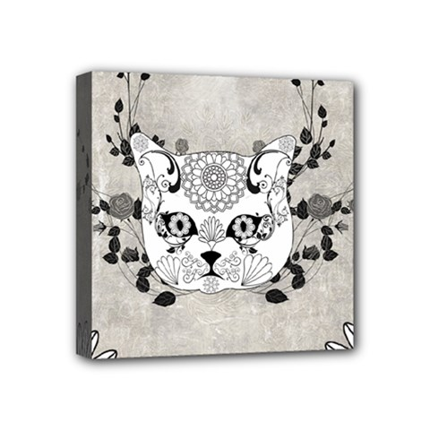 Wonderful Sugar Cat Skull Mini Canvas 4  X 4  by FantasyWorld7