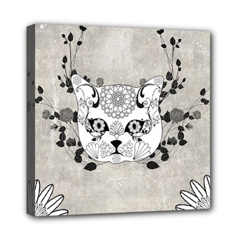 Wonderful Sugar Cat Skull Mini Canvas 8  X 8  by FantasyWorld7