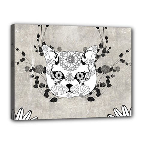 Wonderful Sugar Cat Skull Canvas 16  X 12  by FantasyWorld7