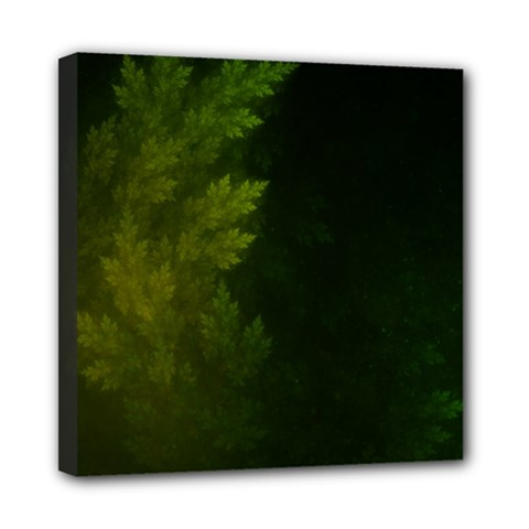 Beautiful Fractal Pines In The Misty Spring Night Mini Canvas 8  X 8  by jayaprime