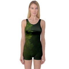 Beautiful Fractal Pines In The Misty Spring Night One Piece Boyleg Swimsuit by beautifulfractals